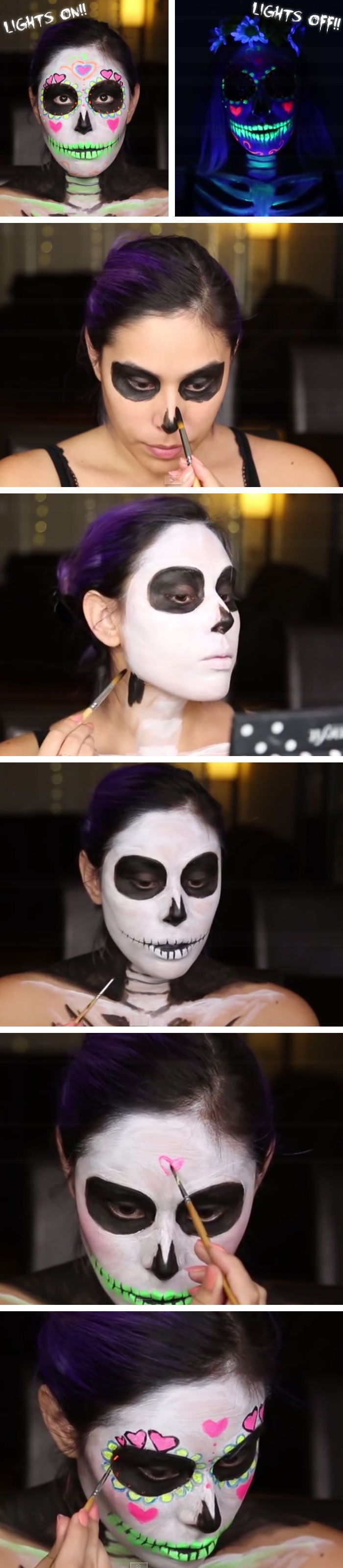 Black Light Sugar Skull with UV Paint | Click Pic for 18 Easy DIY Halloween Costumes for Women | Last Minute Halloween Costumes for Girls