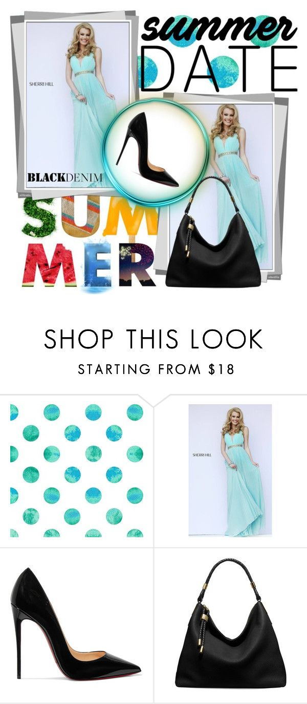 """""""Aqua Sherri Hill 11222 Draped Long Homecoming Dress"""" by homecomingqueendress ❤ liked on Polyvore featuring Sherri Hill, Christian Louboutin, Michael Kors, Prom, dress, cocktail, evening and Homecoming"""