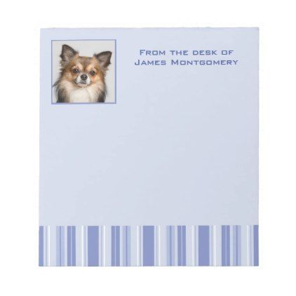 Denim Blue Stripes with Name and Photo Insert Notepad - photo gifts cyo photos personalize