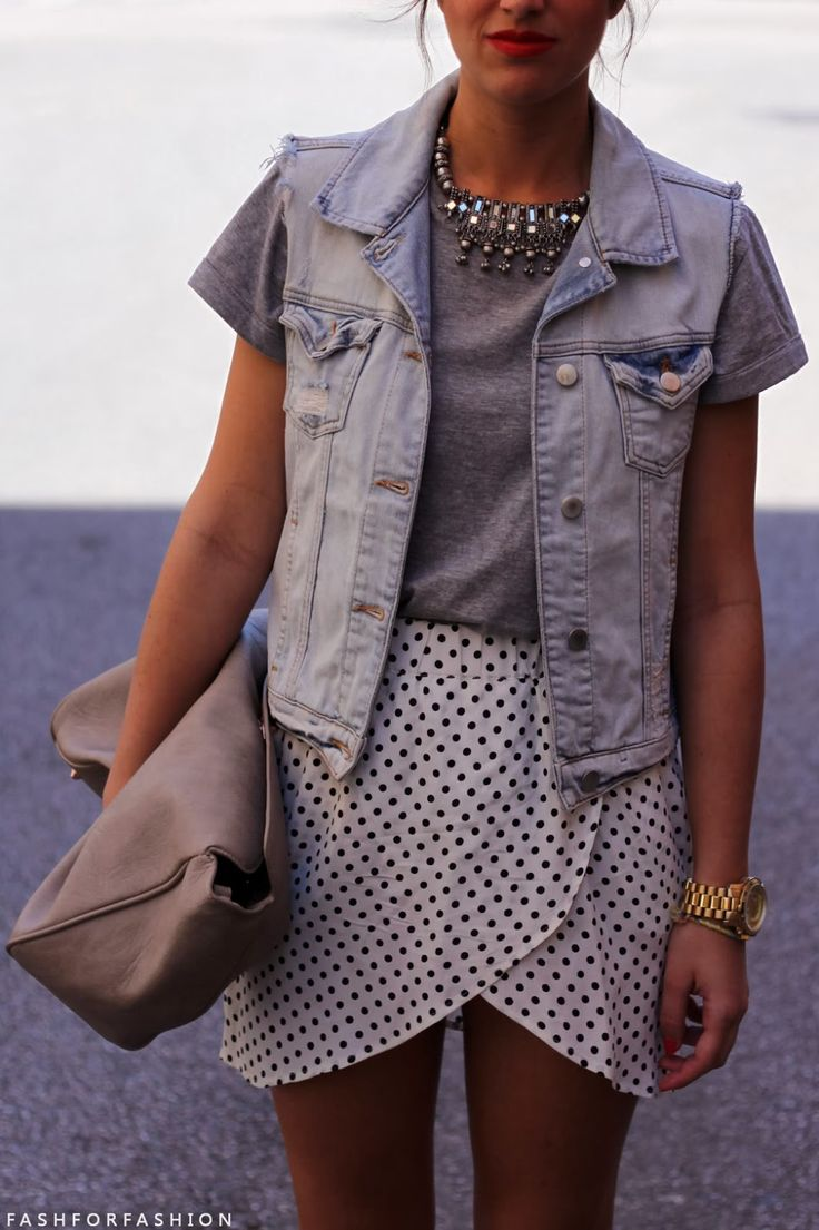 cropped tee, denim vest, cool cut skirt, accessories, and statement necklace, with bag