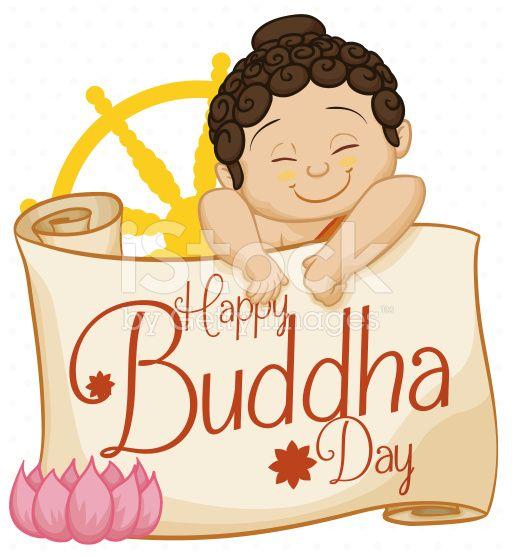 Baby Buddha with Commemorative Scroll, Lotus and Dharma Wheel