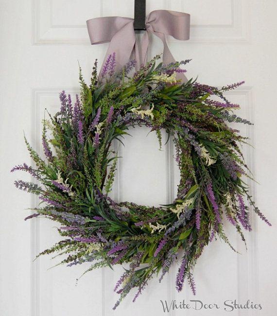 Lavender and Heather Wreath, Front Door Wreath, Spring Wreath, Summer Wreath, Purple Wreath, Wedding Wreath, Indoor Wreath