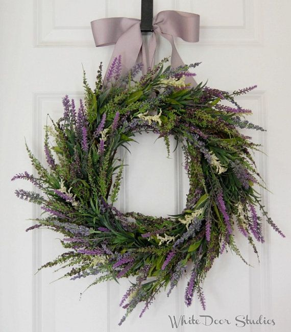 Lavender and Heather Wreath, Front Door Wreath, Spring Wreath, Summer Wreath, Purple Wreath, Wedding Wreath, Indoor Wreath