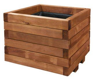 jardinera cuadrada para exterior spiro madera de pino ref