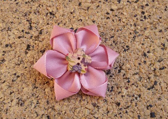Satin ribbon brooch flower brooch pink scarf by Rocreanique on Etsy