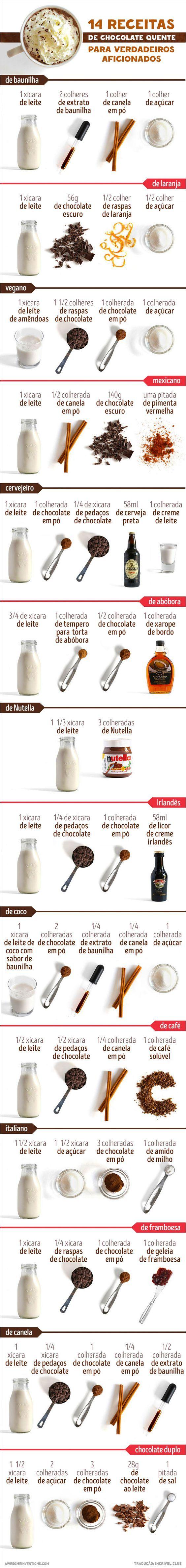 14 receitas de chocolate quente