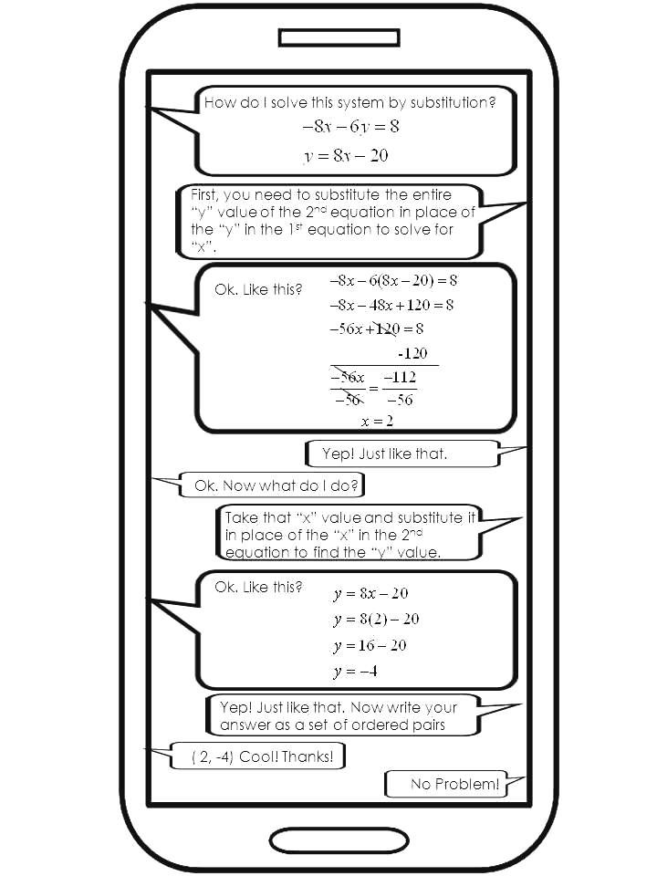 The Math Magazine: Systems of Equations Substitution Worksheet Task Cards Exit Tickets with Notes