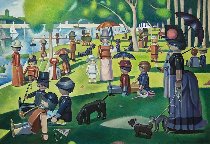 Je kan het met stippen doen, maar natuurlijk ook met Playmobil-poppetjes! Pierre-adrien Sollier maakt beroemde schilderijen op die manier na, bijvoorbeeld deze van Seurat.