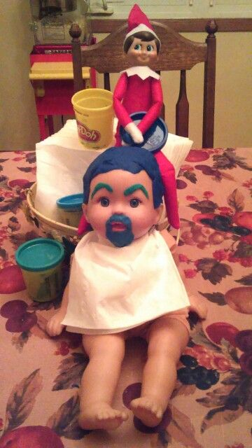 Elf on the Shelf . Quick and easy. Baby doll Playdough makeover! It comes right off when your ready to clean up, leaving no mess behind. A very little bit of the Playdough dried up, but not enough to really even notice. My kids thought this was so funny!
