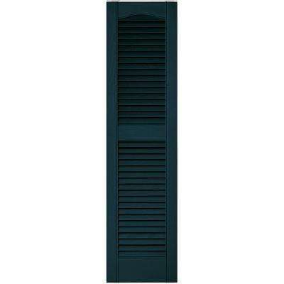 12 in. x 48 in. Louvered Vinyl Exterior Shutters Pair in #166 Midnight Blue