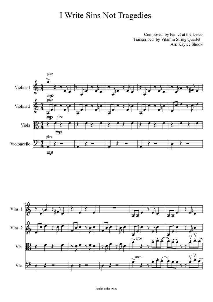 I Write Sins Not Tragedies String Quartet | MuseScore.com