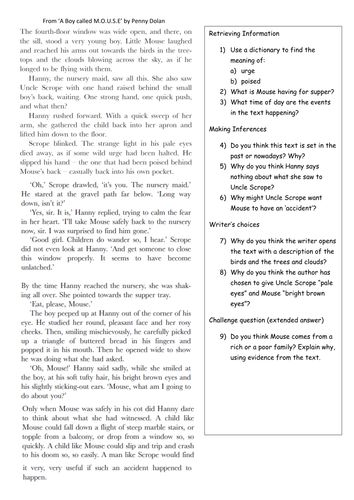 Reading Comprehension Year 5 Year 6