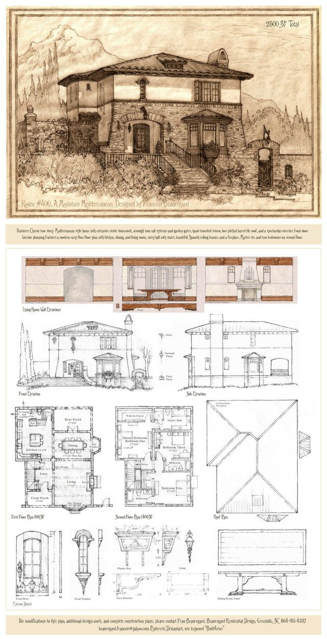 Portrait and plans for a rustic Mediterranean style home suitable for a sloping lot on a mountainside. Two-story design features primary living spaces on the first floor, master suite and two bedro...