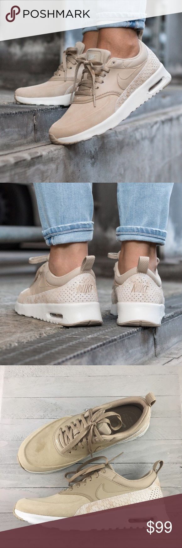 Women's Nike Air Max Thea Premium Linen Sneaker Women's Nike Air Max Thea Premium Trainers Linen Sneaker lends understated style and ultralight cushioning for everyday wear. Style/Color: 616723-203  • Women's size 9.5  • NEW in box (no lid) • No trades •1