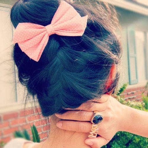 braided bun and cute bow!