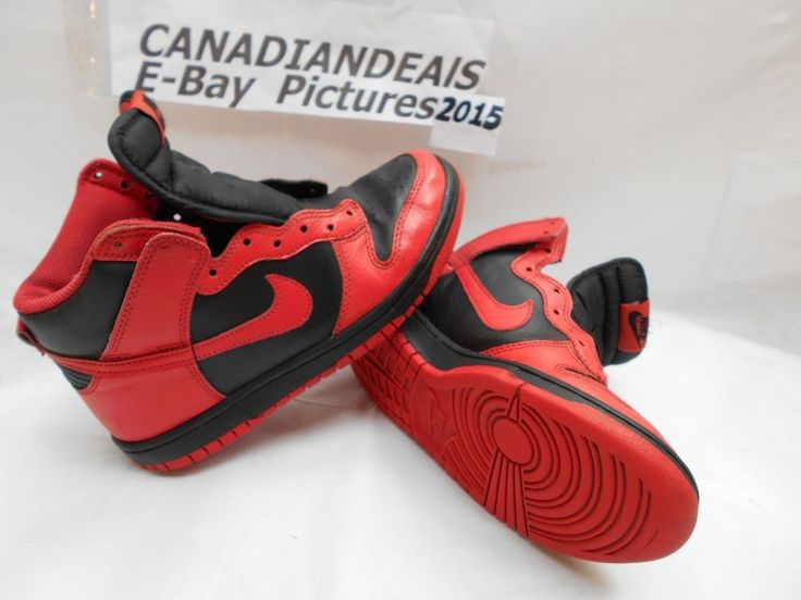 NIKE HIGH TOP Red & Black SWOOSH Youth 5Y  2011 stock great Shape nikey reds #Nike #CasualShoes
