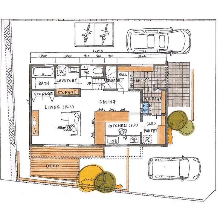 玄関収納 パントリー キッチンの繋がりがいい感じです 洗面所の収納の幅が1 7mぐらいあるのが嬉しいですね 窓の取り方も問題なし 外観パースも綺麗に描けてますね 家の間取り 家の間取り図 平面図