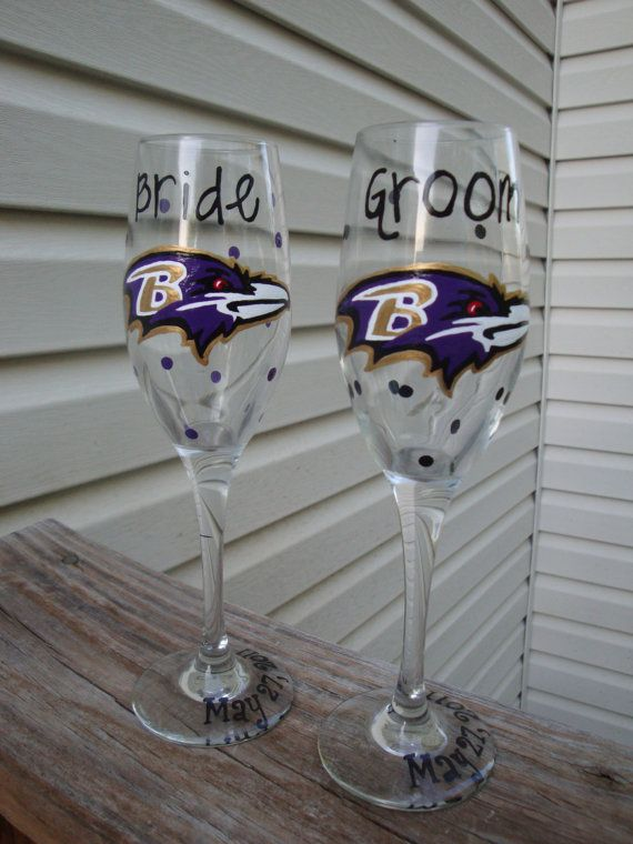 Baltimore Ravens toasting flutes by aGlassWithSass on Etsy, $20.00