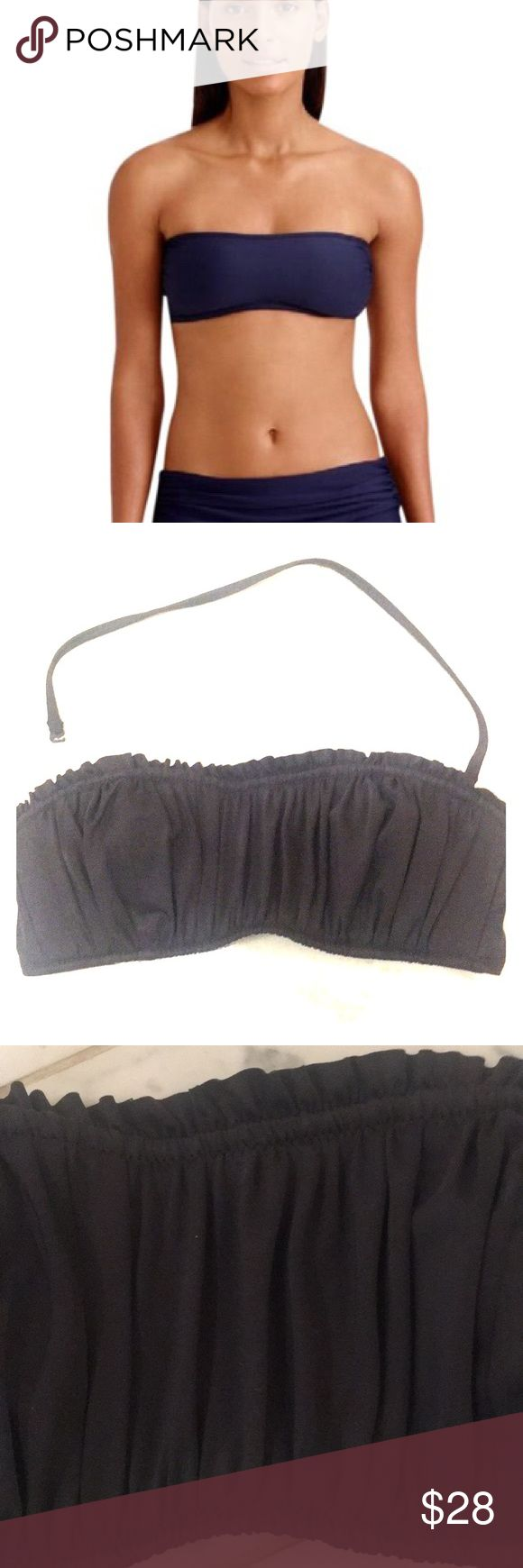 Ruched bandeau bikini top Charcoal grey ruched bandeau bikini top Non removable padding, removable strap Comfy and sexy!! Picture shown on model does not have the ruching but the same look on.... J. Crew Swim Bikinis