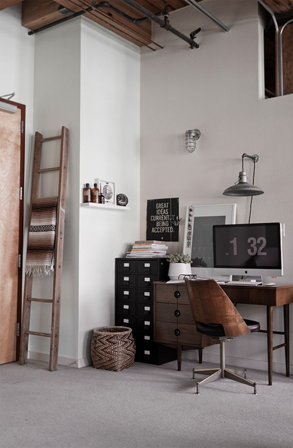this would work in our new modern home. amalgamate old with new. wood, black, vintage, industrial. love that its not frilly.