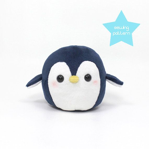 "Plushie Sewing Pattern PDF for cute soft plush toy - Round Penguin cuddly stuffed animal 4.5"" on Etsy, 68,07 kr"