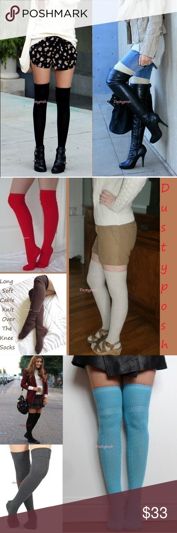Cable Knit Over The Knee Sock Thigh High Cuff Boot Long soft cable knit over the knee socks. One pair new never worn, choose from ivory, black, hot pink, blue, brown, red or gray. Cute cozy boot socks, I'm sure you will love them. These are long enough to wear thigh high for most or over the knee with a nice cuff. Push them down below your knees and rock them as scrunchy knee highs. Surely to keep your tootsies warm, normal to thick socks thickness, not like cheap thin so called over the…