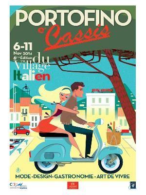 """Retro-style poster for Italian festival in Cassis Provence """"Portofino-Cassis"""""""