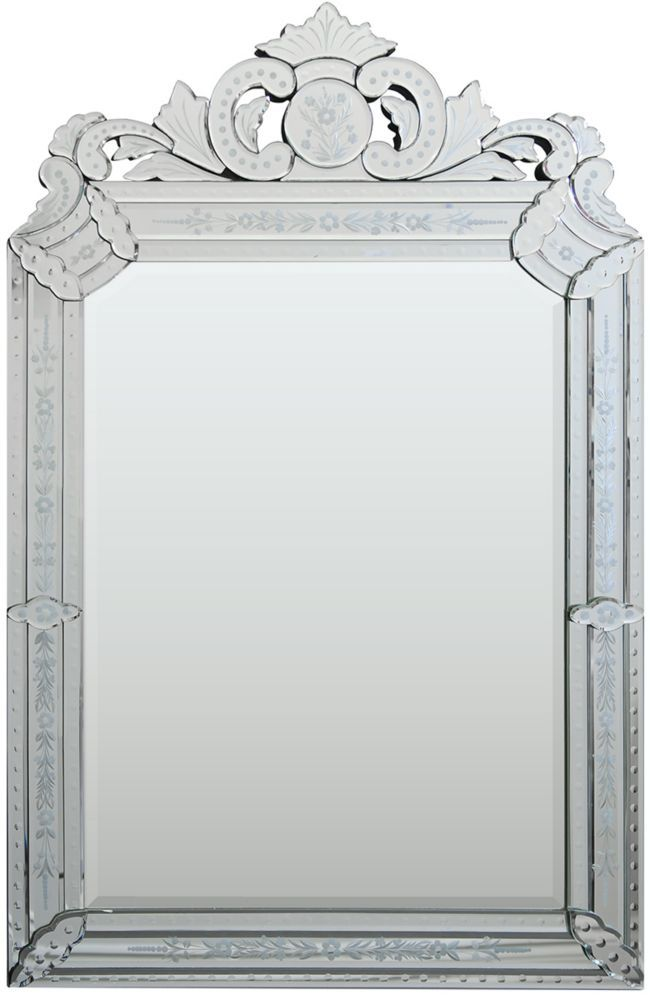 Mansard Mirror STYLE Dim 26 This Elegant Venetian Features Etched Mirrored Ornaments And A Marvelous Crown The Large Center Is