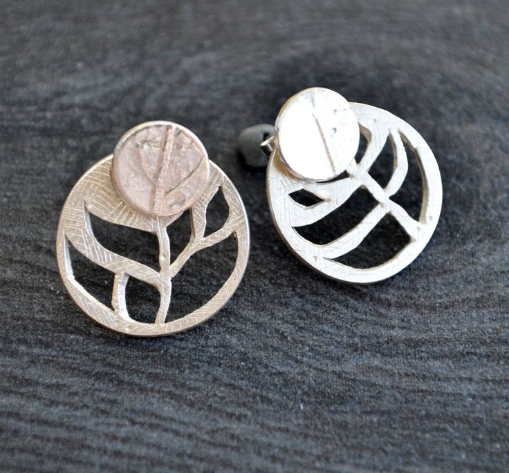 Silver Ear Jacket Earrings with leaf design cutouts by Luminous Design Store