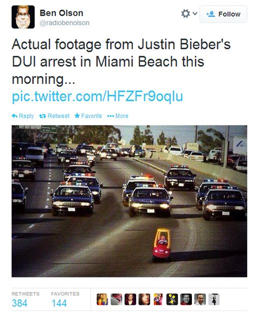 This tweet serves as an example of how Justin Bieber's arrest - a controversial matter at that - was turned into a big joke. People took to twitter to express their mockery of his arrest at such a young age and of his reckless behavior. Twitter is a social media outlet of the digital age that has become widely used as a means of expressing a variety of emotions and reactions to controversial events.