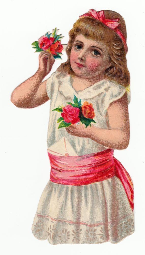 Oblaten Glanzbild  scrap die cut chromo / Mädchen mit Blumen