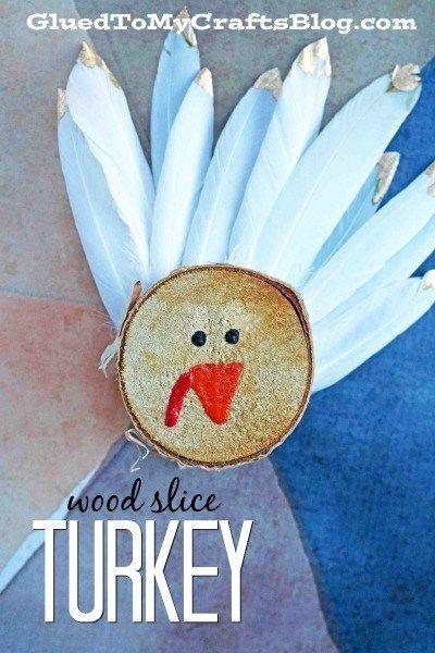 Wood Slice Turkey Decorations Thanksgiving Kid Craft Crafts For