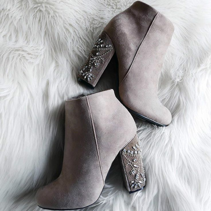 Chunky Jeweled Bootie Heels – Available in 2 colors