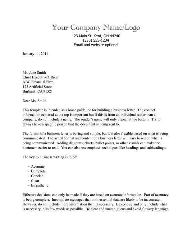 concise business writing examples