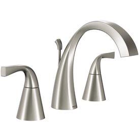 "7"" Reach Moen Oxby Spot Resist Brushed Nickel 2-Handle Widespread WaterSense Bathroom Faucet (Drain Included)"