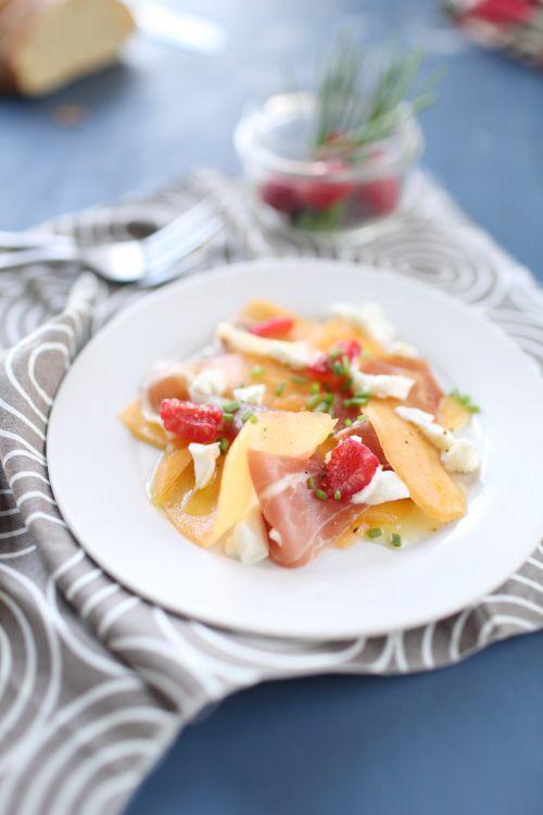 Carpaccio de melon, framboise, jambon cru et mozzarella | chefNini