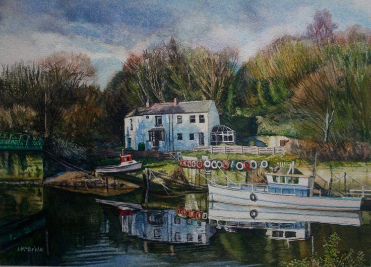 Cox Green boatyard, River Wear - watercolour