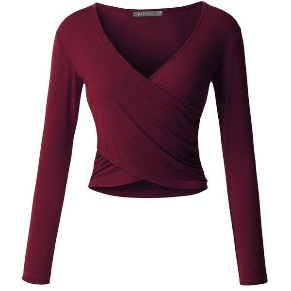 89accd59602 LE3NO Womens Fitted Wrap V Neck Long Sleeve Crop Top with Stretch ( 17) ❤  liked on Polyvore featuring tops