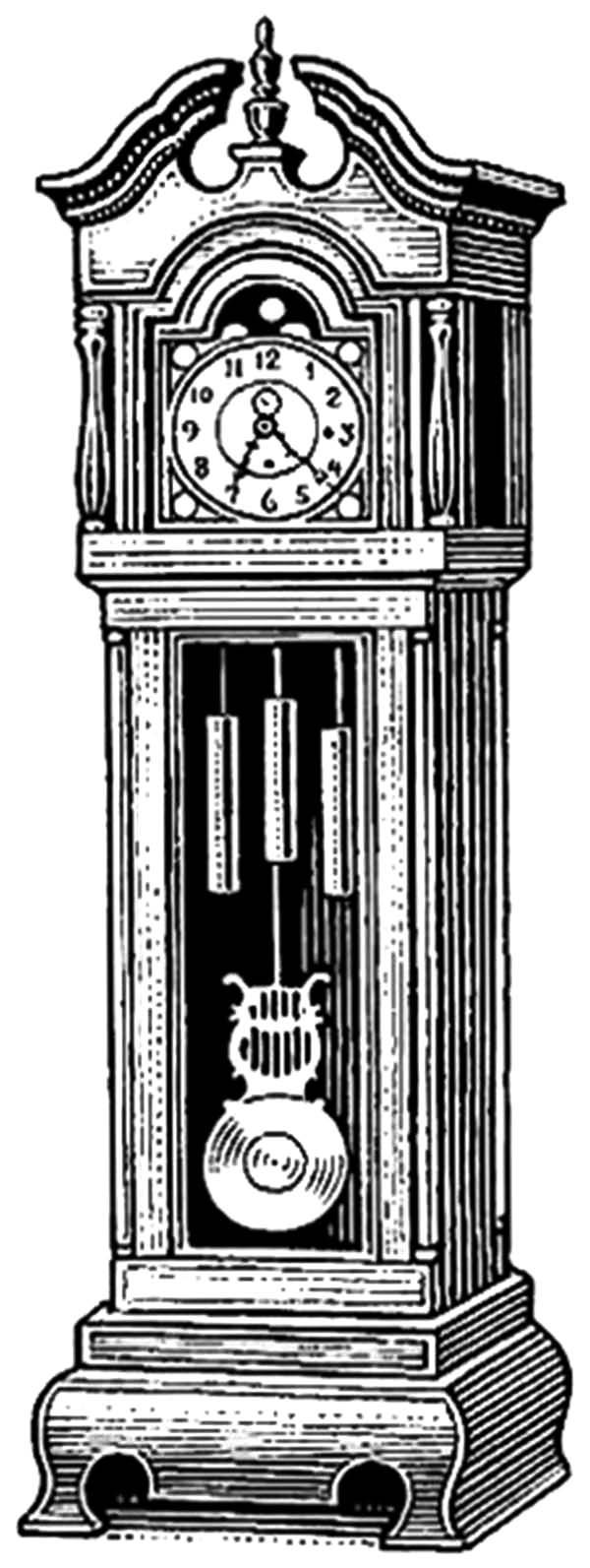 Exclusive Design Grandfather Clock Coloring Pages Clock Drawings Grandfather Clock Tattoo Grandfather Clock