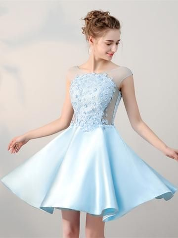 8500a36b54dec Blue Lace Pearls Cap Sleeves Mini Homecoming Dress in 2019 | Spring ...