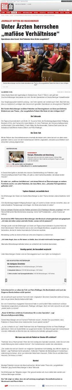 """Bild.de vom 10.04.2013 - Unter Ärzten herrschen """"mafiöse Verhältnisse"""" Operationen ohne Grund: Sind Patienten ihren Ärzten ausgeliefert? - Rechtsanwaltskanzlei Sabrina Diehl"""