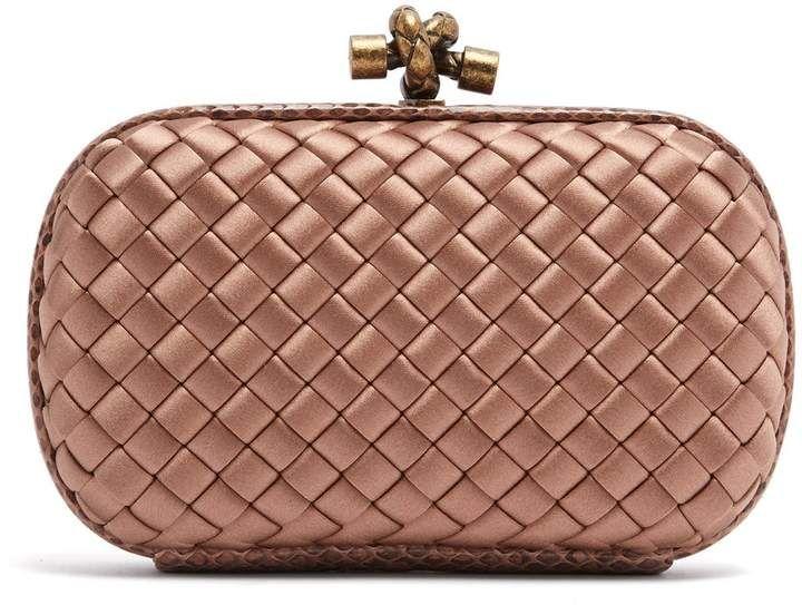 Knot Satin And Watersnake Clutch Bottega Veneta Matchesfashion Us Bottega Veneta Bottega Veneta Handbag Bottega Veneta Bag