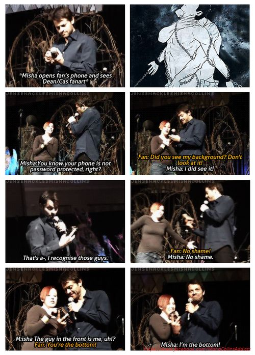 I'm done <-- I love Misha's acceptance of this kind of thing <---- OMG I'm gonna be laughing for the next hundred years bc of this lol