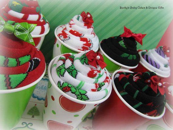 Teacher Gifts..Holiday Sock Cupcakes Sock by BeckysBabyCakesandUn