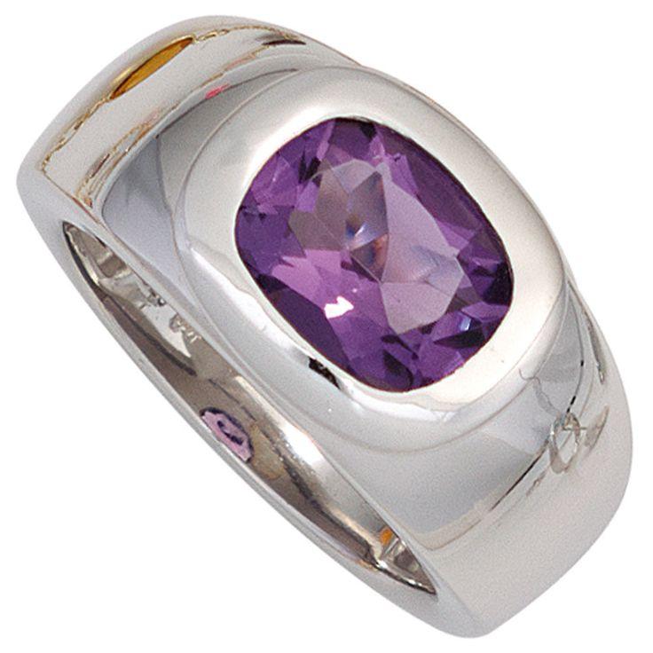 Damen Ring 925 Sterling Silber rhodiniert 1 Amethyst Silberring A43516 52