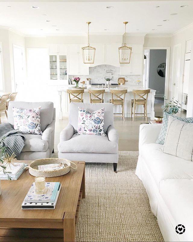 living room decor open layout white sofa pottery barn rug white rh pinterest com