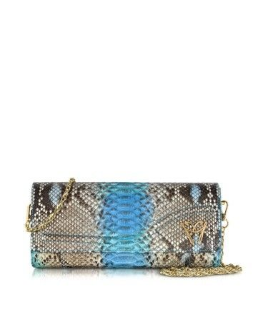 BLUE PYTHON CLUTCH W/DETACHABLE CHAIN STRAP GHIBLI