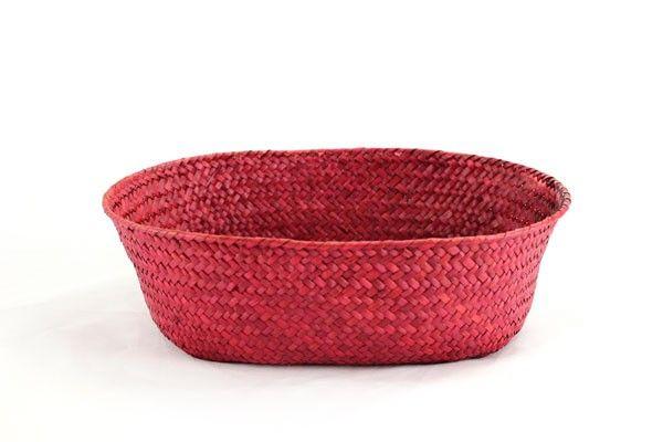 Red Oval Basket 12  X 9.5  X 3.5
