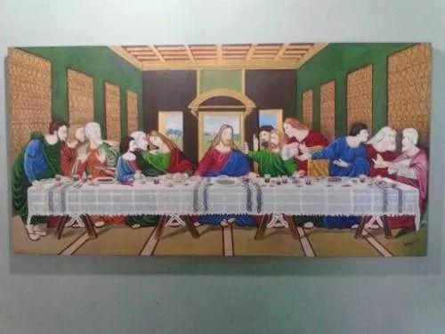 cuadro de  la santa cena con marco negro. 150x80
