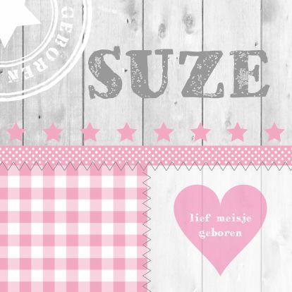 Geboortekaart LB Suze roze - Geboortekaartjes - Kaartje2go